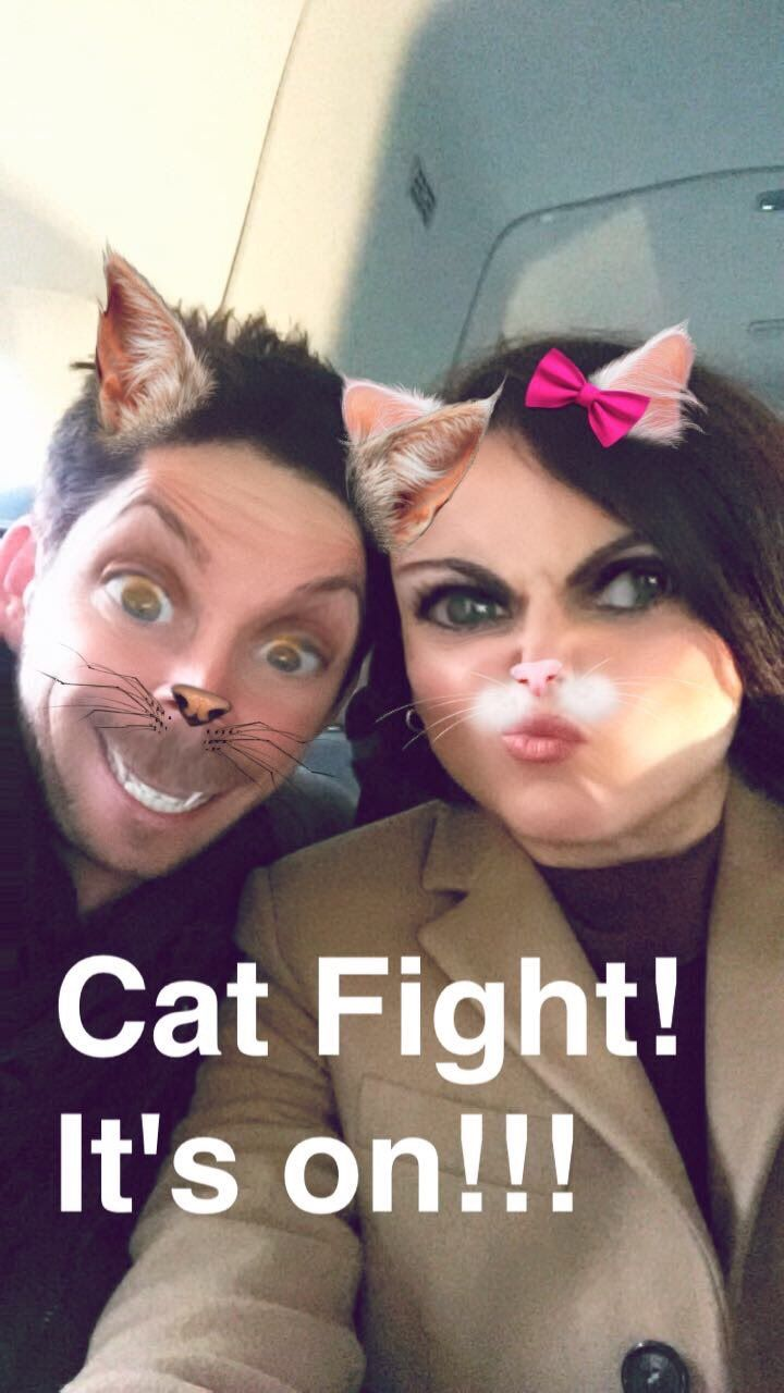 Awesome Lana and Sean using the adorable cat filter in #SnapChat #CatFight! It's On! possibly on a plane #LosAngeles #Ca #VancouverBC #Canada Thursday 12-1-16 #LanasSnapChat