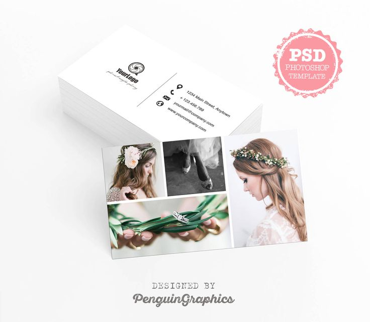 Business card template. Photography business card. Marketing & stationary card. Editable PSD photoshop files for instant download. BCT003 by PenguinGraphics on Etsy