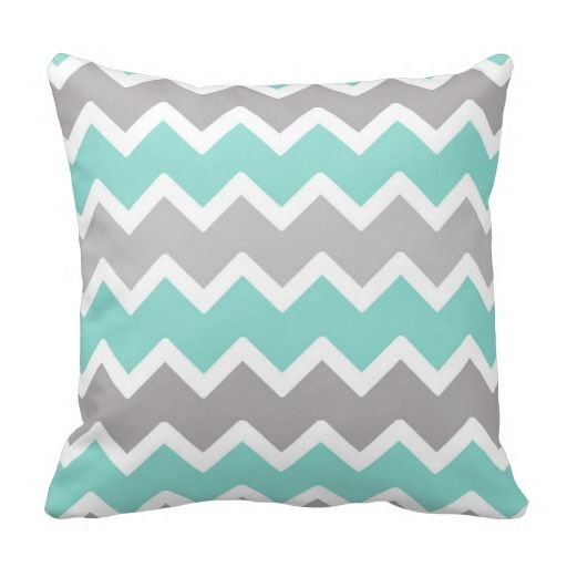 Aqua Blue and Gray Grey Chevron Throw Pillow #decampstudios