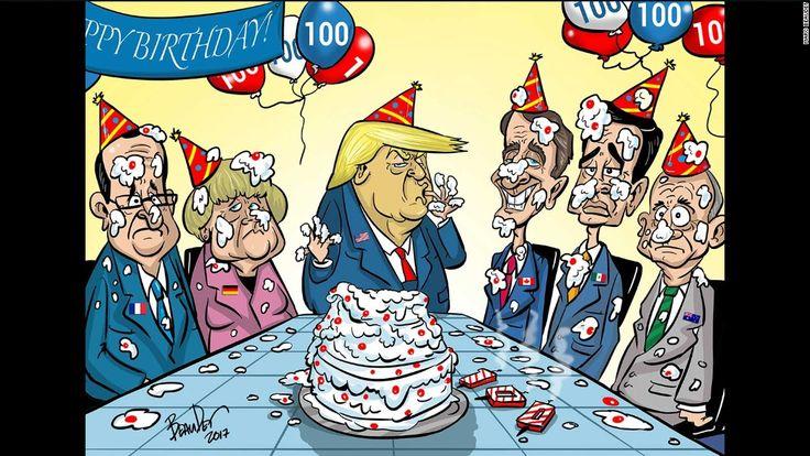 Trump at 100 days: Cartoon views from around the world