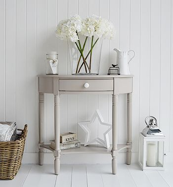 Console tables for hall and living room furniture in grey, white and cream. The Oxford grey console table in half moon with drawer and shelf
