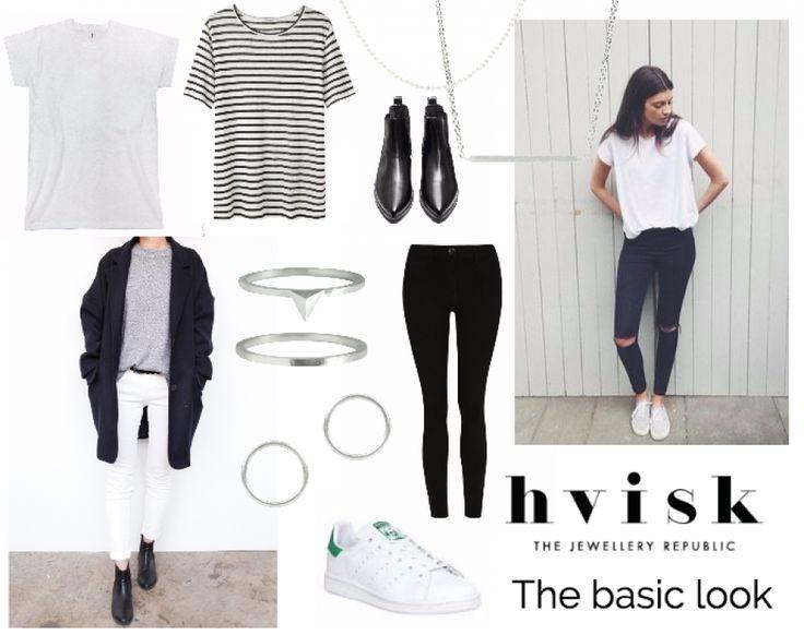 THE BASIC LOOK:Sort, grå og hvid. Et gennemført outfit består her af få,  men lækre pjeces, uden for mange detaljer.  Minimalistiske smykker, som simple ringe og kæder uden vedhæng, vil komplimentere det enkle look, uden at pifte det for meget op.