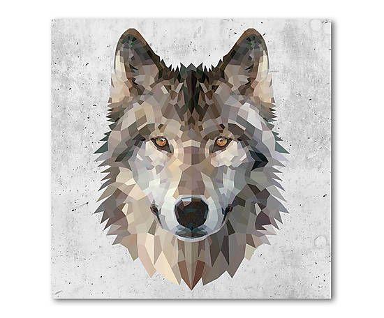 Impression sur toile WOLF coton et bois, multicolore - 60*60