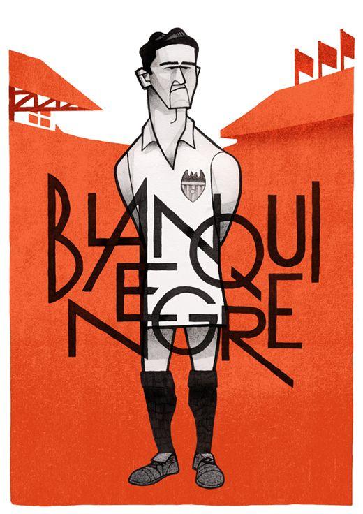 Blanquinegre by Jorge Lawerta #illustrazione #lettering #calcio #sport