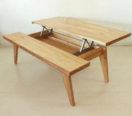 Mesa ratona comedor tapa elevable rebatible madera for Mesas de comedor rectangulares