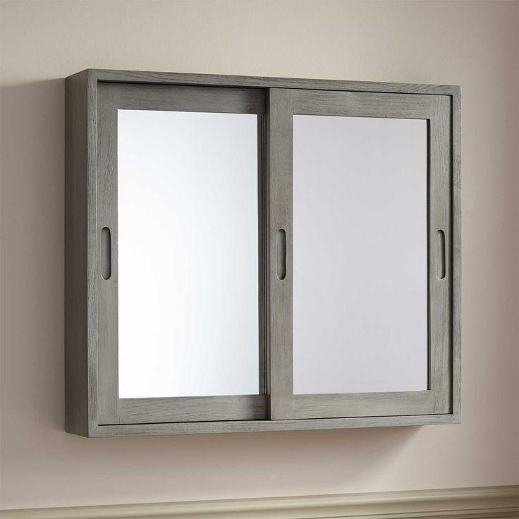 Sliding Door Mirrored Bathroom Cabinet