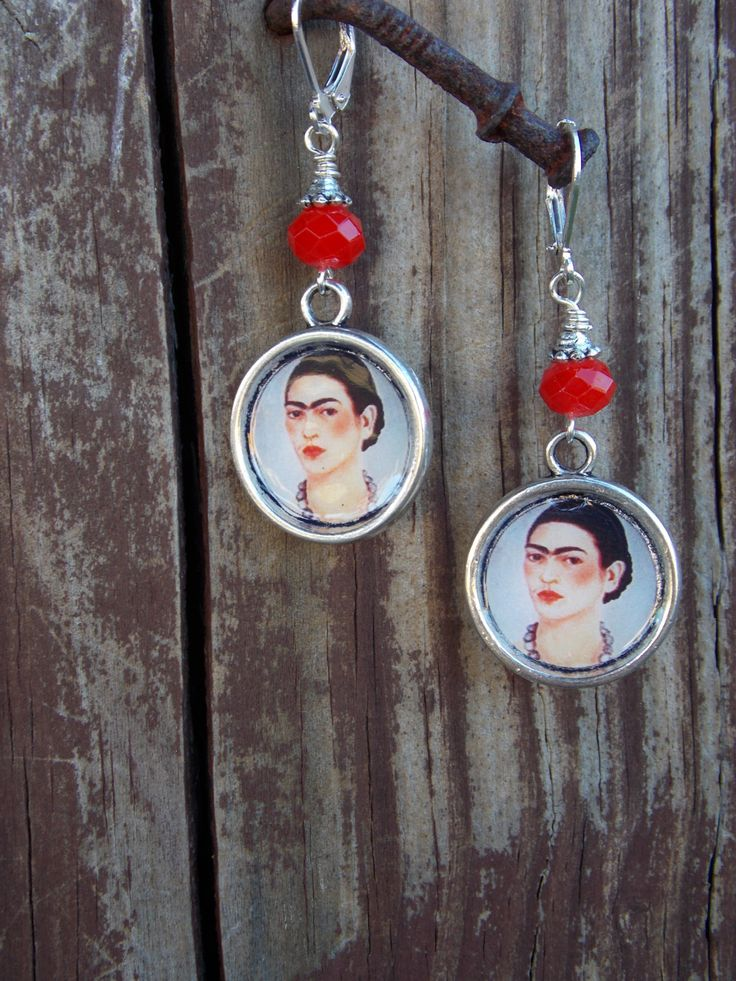 Frida image red dangle earrings by LaCraftyVida on Etsy