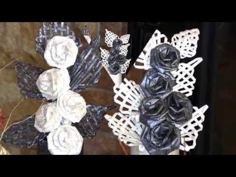 Flores con las propias manos. Idea de la composicion de papel para un regalo. Parte 1. - YouTube