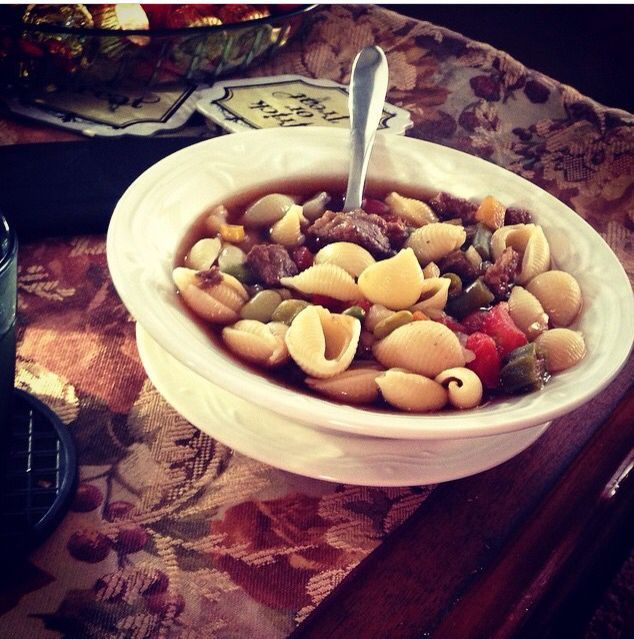 This Ain't my Mama's Veggie Venison Soup created by yours truly with Miranda's song in mind ( Mama's broken heart)