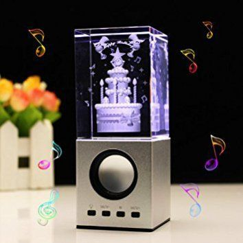 LIWUYOU Engraved Crystal 3D Cake and Happy Birthday Colorful LED Light Small Speaker, Birthday Cake  It is easy to find great gifts for women under $50 when you know here to look.  I have found so many cool, trendy and unique gift ideas for her online.   You can find Home décor gifts, beauty gifts, jewelry gift ideas and fashion gifts all for under and under fifty dollars.  In addition to being adorable these cool gifts under $50 Dollars for her are popular, charming and cute!