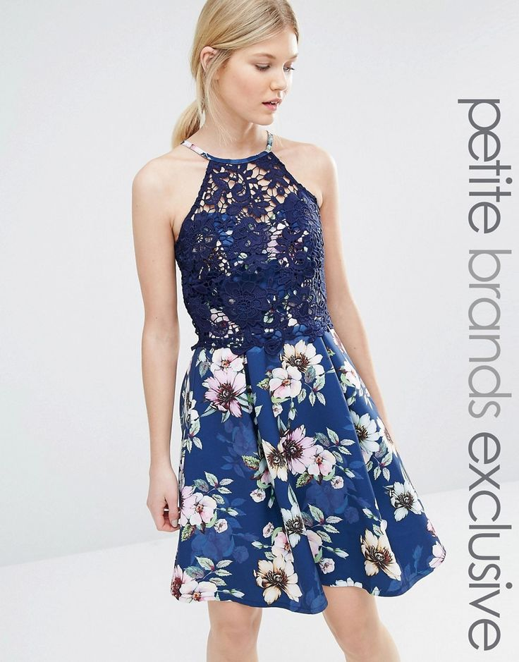 Image 1 of Paper Dolls Petite Halter Neck Prom Dress With Floral Skirt And Lace Overlay Bodice