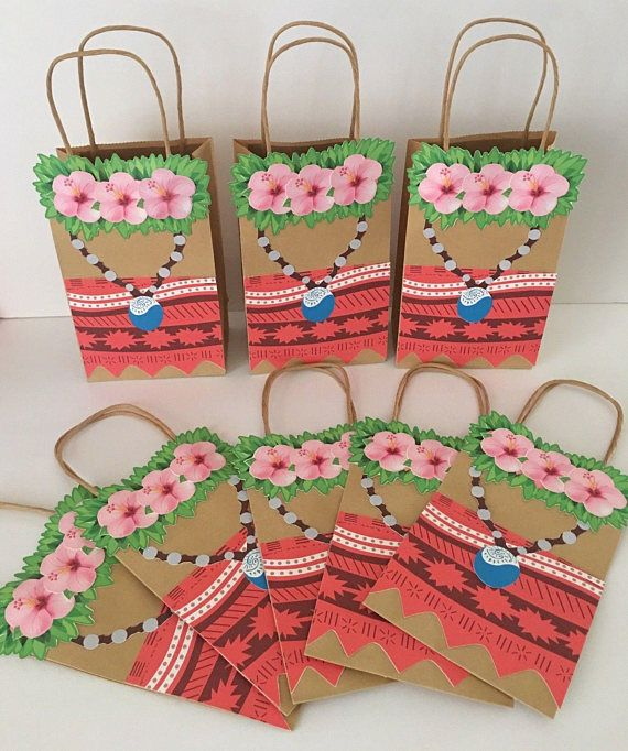 custom Moana party bags * Paper Gift Bags, Each bag measures 5¼x2¾x8½H *CANDY NOT INCLUDED! *all party bags are shipped assembled and ready for fill *I always welcome custom orders! If you don't see something you are looking for, please do not hesitate to contact me. Response is