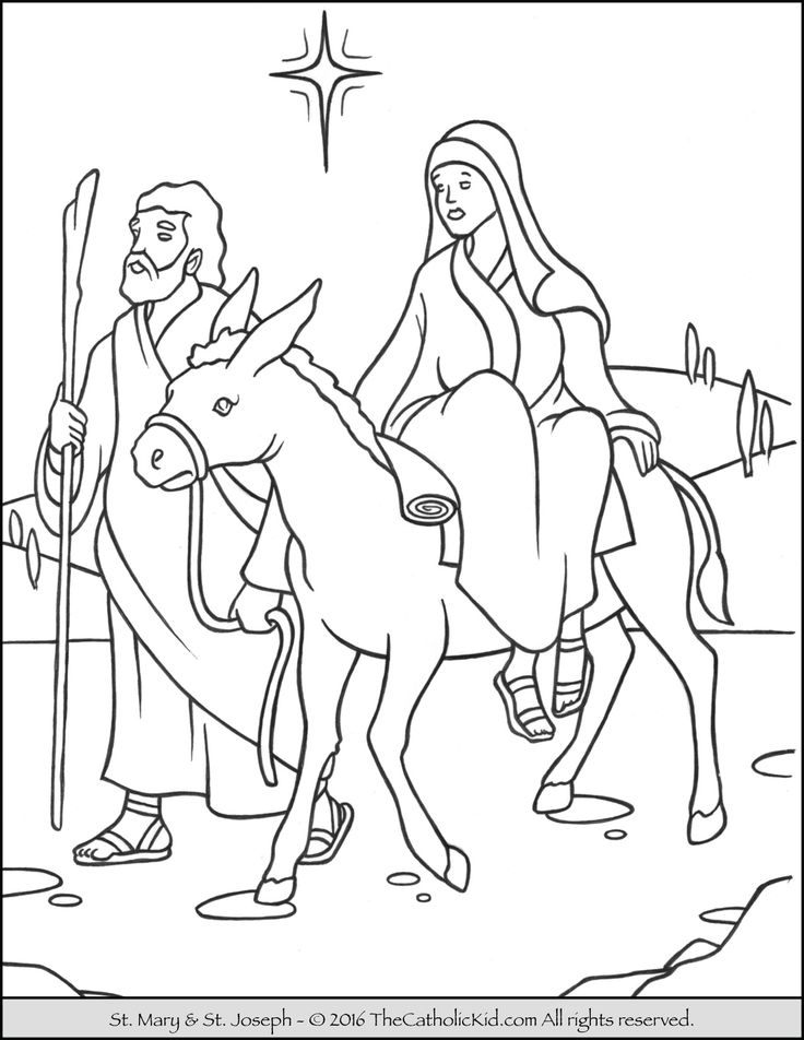 Advent Christmas Coloring Page Of Joseph And Mary On The Journey To Bethlehem For