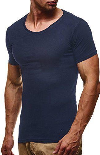2451fc2d282efe Amazon Leif Nelson Herren T-Shirt Tiefer Rundhalsausschnitt