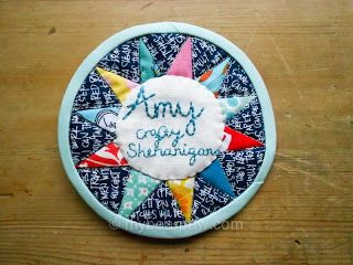 Quilted name tag for Amy of Crafty Shenanigans