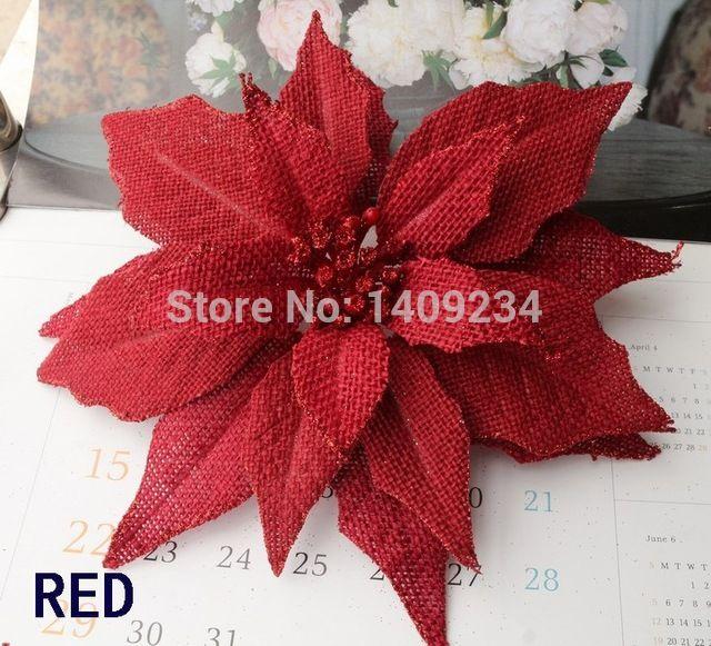 Free Shipping D 23cm Burlap Poinsettia Flowers W Clip W Glitter Artificial Flowers Christmas Tree Christmas Tree Ornaments Felt Flowers Diy Christmas Ornaments