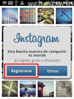 registrarse en instagram