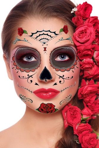 Sugar Skull Face | Sugar Skull Red Rose Temporary Tattoo for The Face Calavera Day of The ...