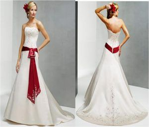White Wedding Dress With Red Accent Sash