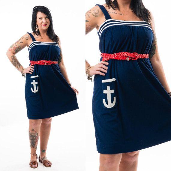 VERKOOP  Vintage 80 's marineblauw Sailor jurk / anker /