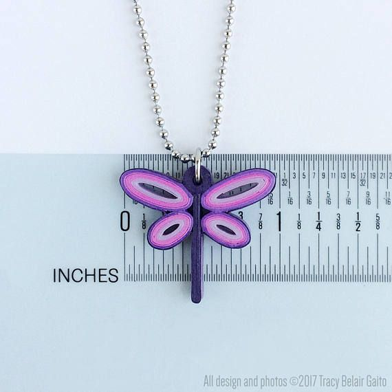 Purple Quilled Paper Dragonfly Pendant necklace stainless