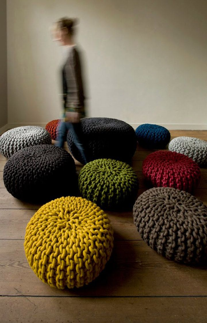 Handknitted Wool Poufs And Rugs By Christien Meindertsma
