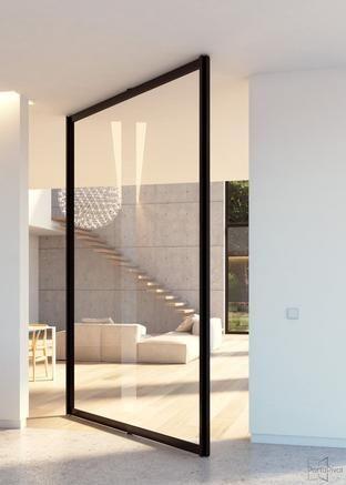 Portapivot 6530 XL glass and aluminium pivot door
