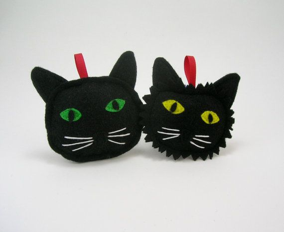 Hey, I found this really awesome Etsy listing at https://www.etsy.com/uk/listing/493012513/black-cat-christmas-ornament-with-yellow