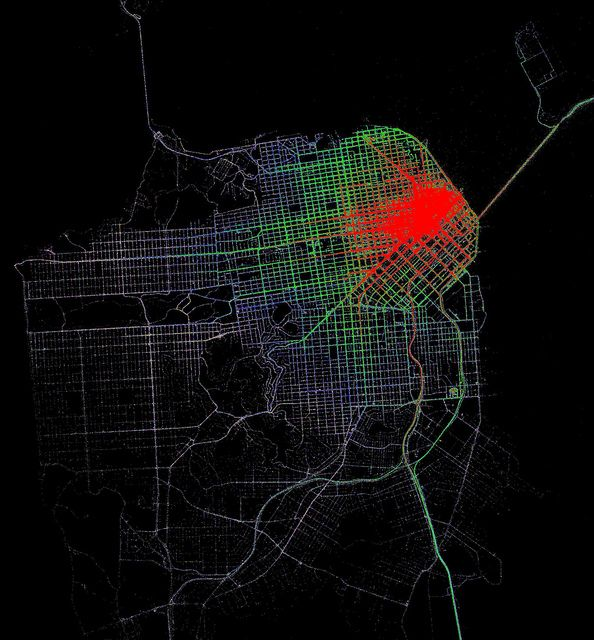 Accessibility contours from 3rd and Market by taxi by Eric Fischer, via Flickr