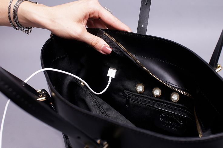 The Smartbag tote has two USB chargers hidden under the flap and can charge an iPhone 6 about three times and a Samsung Galaxy about two and a half times.