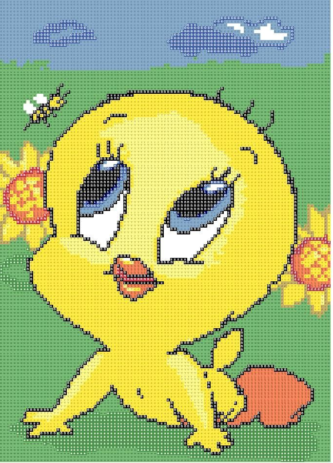Schema punto croce Titti girasoli