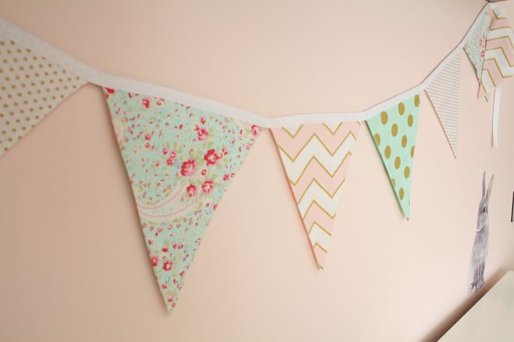 Beautiful modern bunting and our bunny rabbit wall sticker