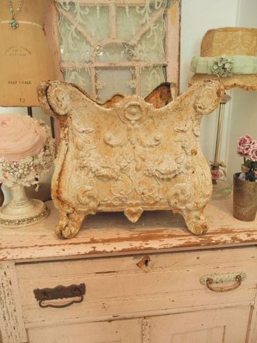 Exquisite Antique French Victorian Cast Iron Urn Planter Old Chippy Paint  Patina.