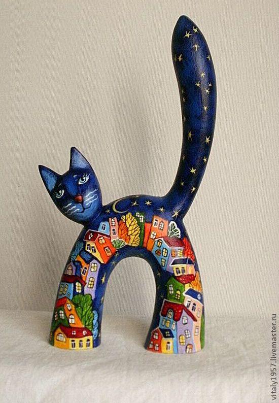 Деревянные коты Виталия Корякина :: Коты и кошки - рисунок, графика, живопись