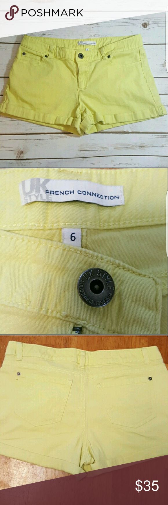 French Connection Citrine shorts Butter soft mellow yellow shorts with folded cuff. 98% cotton, 2% spandex. French Connection Shorts Jean Shorts