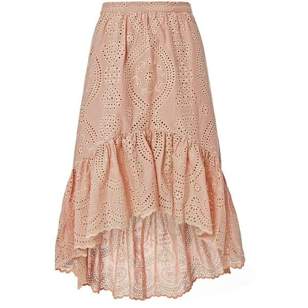 LOVESHACKFANCY Women's Pam High-Low Eyelet Skirt ($295) ❤ liked on Polyvore featuring skirts, light pink, short front long back skirt, ruffle hem skirt, loveshackfancy, lined skirt and high low skirt