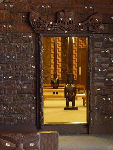The doorway to the Maori meeting house at the Field Museum in Chicago. Built in 1881, the house is from Tokomaru Bay in New Zealand.