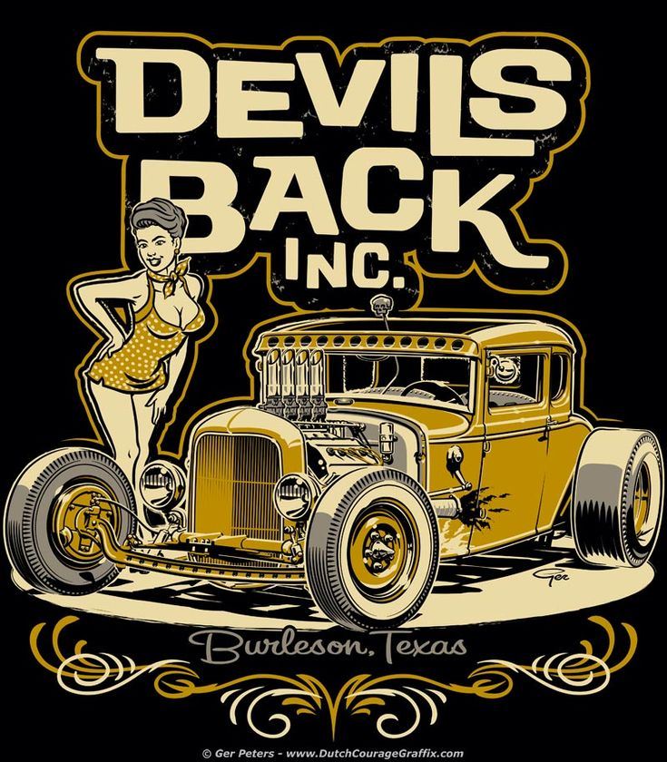 T-shirt artwork for Devils Back Inc., Burleson, Texas. #hotrod #hot #rod #Ford #modelA #coupe #pinup #girl #tshirt #logo #artwork
