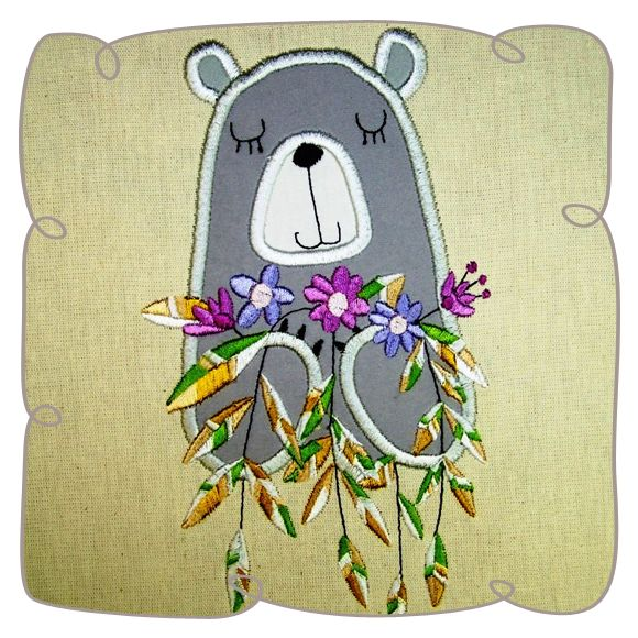 Bear applique machine embroidery design pattern-INSTANT DOWNLOAD