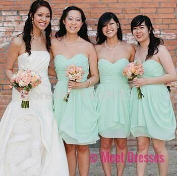 Mint Green Bridesmaid Dresses,Knee Length Bridesmaid Gown,Summer Bridesmaid Gowns,Beach Bridesmaid Dress,Cheap Bridesmaid Gown,Fall Bridesmaid Dress For Modest Brides PD20184692
