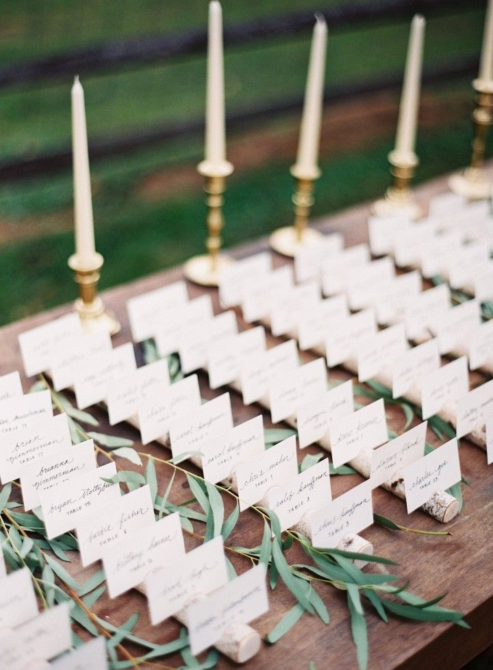 wedding reception escort card table idea; photo: Michael & Carina Photography