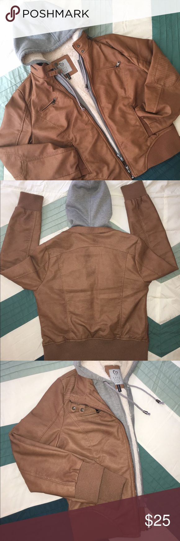 """Full Tilt - Faux Leather w/ Grey Hood Gently used. Worn probably just a handful of times. Some pilling along the bottom jacket and cuffsJunior size XL, fits like a M/L in women's. Camel color faux leather, Grey hoodie attached, lined with faux fur that is still soft and fuzzy! Measurements: 26""""Arm/21"""" Bust/21 1/2"""" Shoulder to bottom of jacket Full Tilt Jackets & Coats"""