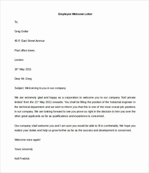 Welcome Letter To New Employee Luxury 21 Hr Wel E Letter Templates D Photography Welcome Packet Professional Cover Letter Template Simple Cover Letter Template