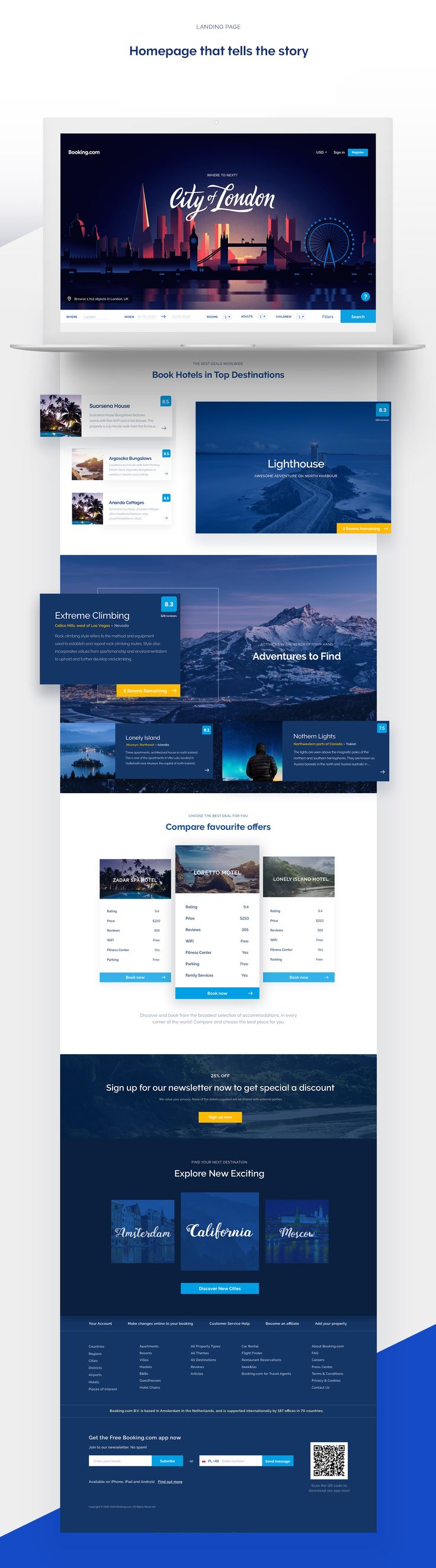 Booking.com is the world's largest accommodation website. We wanted to give it a fresh, consistent look and adjust it to modern design trends.1.Refreshed homepage - With the new approach user doesn't feel overwhelmed by hundred options from the first si…
