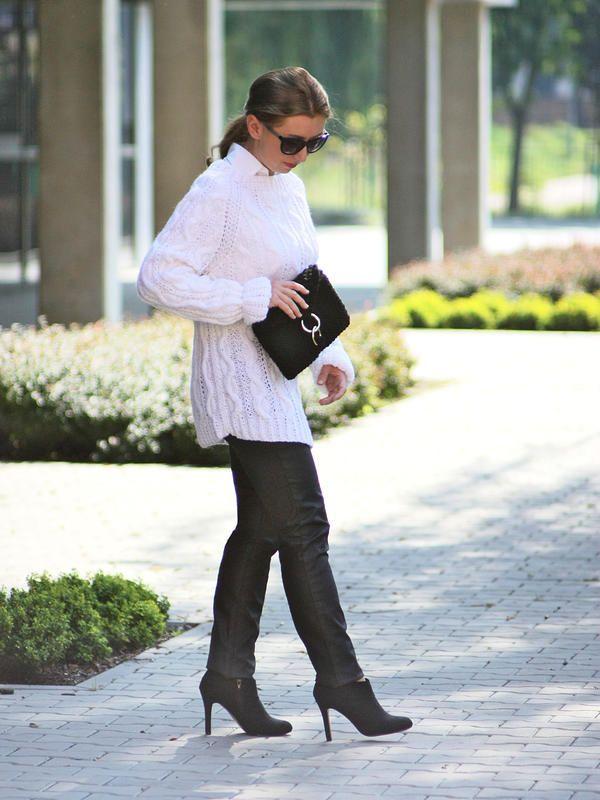 Black hand knitted chunky clutch bag