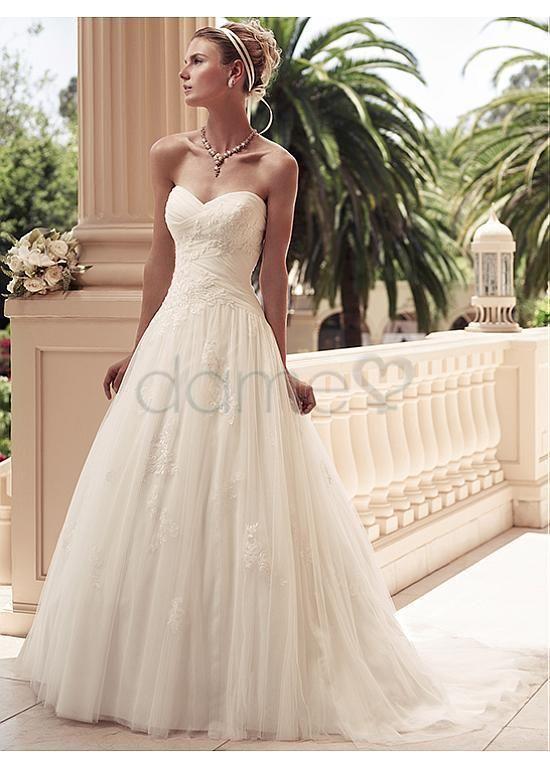 Schatz Ausschnitt Satin A-Linie Tüll Tülle Overlay bodenlanges Brautkleider