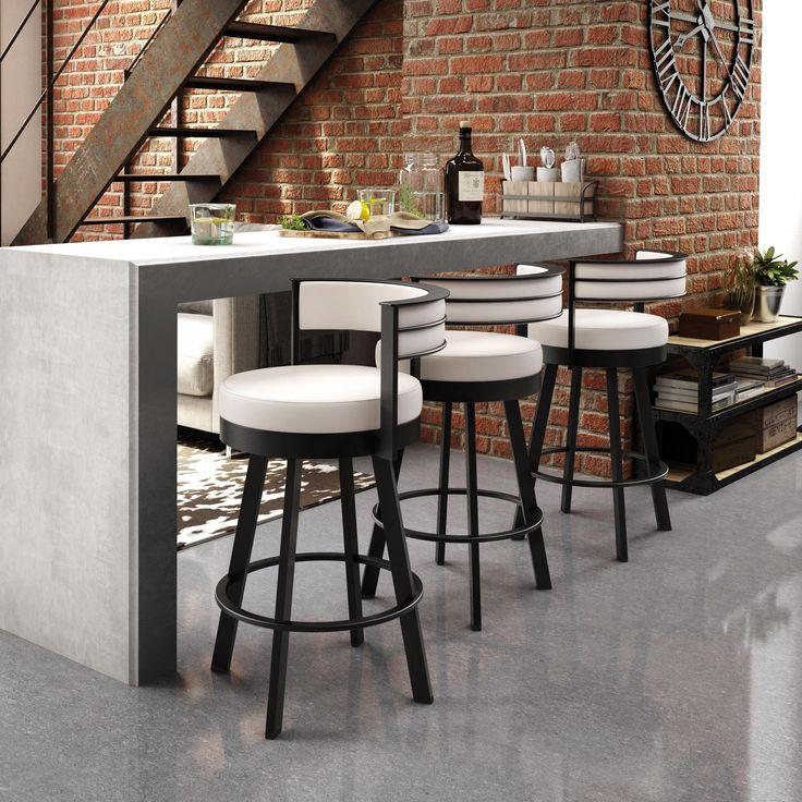 Amisco Browser 30-inch Swivel Metal Barstool (Dark Brown Metal/ Beige Upholstery)