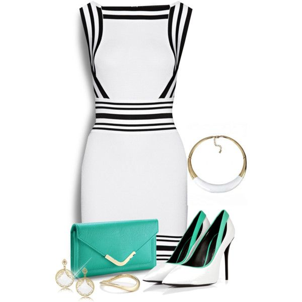 Touch of Teal by signaturenails-dstanley on Polyvore featuring moda, Balmain, Giuseppe Zanotti, Apt. 9, LK Designs and Nadri
