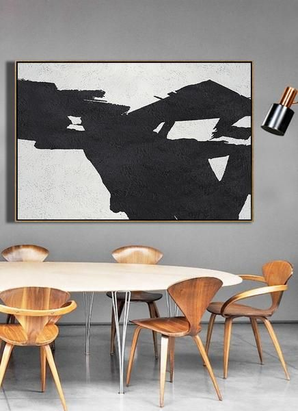 CZ Art Design - Hand-painted large textured painting, oversized Horizontal canvas art, Minimal Art black, white and grey, for neutral home decor and minimalist interior design. #MN42C