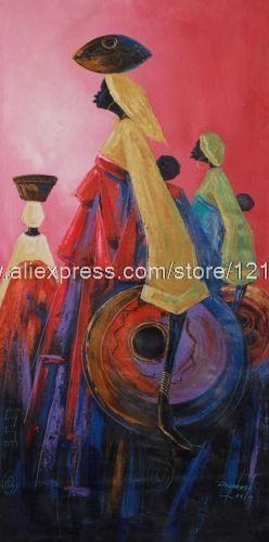 Pintura expresionista africana bellas esperanzado madres hechos a mano Ghana pinturas al óleo alta calidad venta al por mayor pintura del envío gratis(China (Mainland))